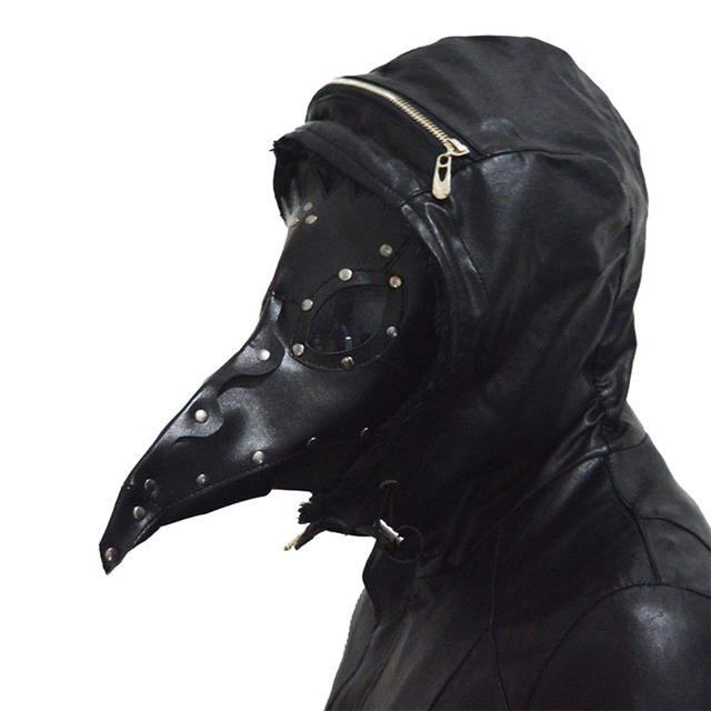Coslive Steampunk Plague Doctor Mask Black PU Leather Halloween Masquerade Masks For Men Adult Cosplay Mask