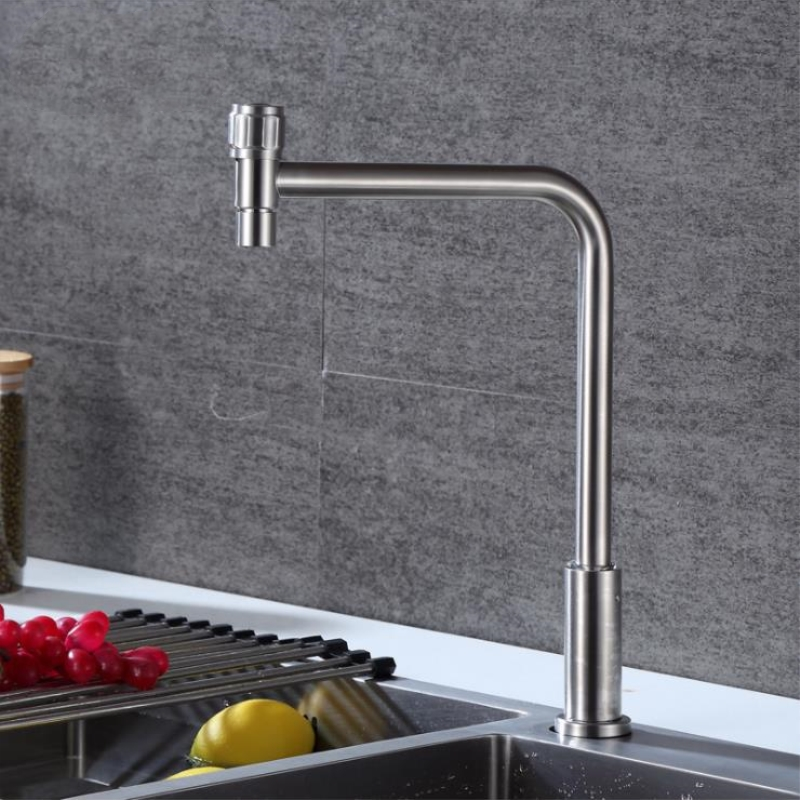 Kitchen Faucet 360 Degree Rotation Rule Shape Curved Outlet Pipe Tap Basin Plumbing Hardware Stainless Steel Sink Faucet