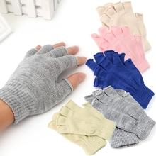 1 para dzianiny Stretch pół palca elastyczne rękawiczki bez palców zimowe miękkie ciepłe mężczyźni kobiety dzianinowe rękawiczki bez palców tanie tanio Acrylic Cotton gloves O112 17cm 6 70 Gray Pink Beige Royal Blue 1 Pair