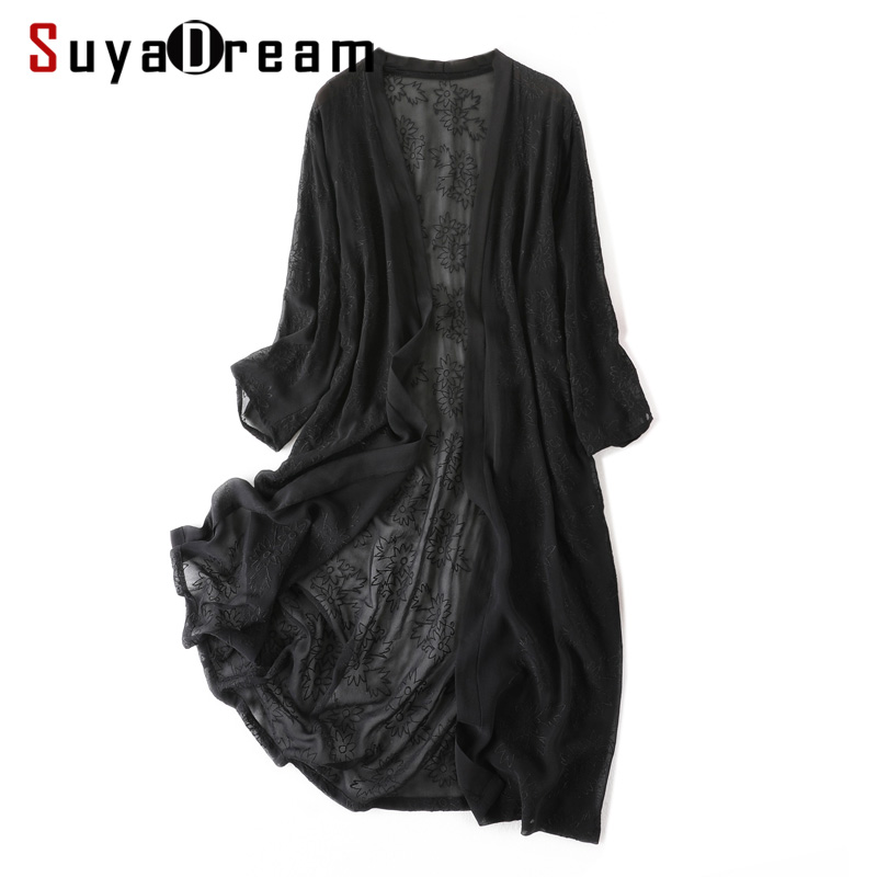 Women Black Long   Blouse   100% REAL SILK Georgette Solid Transpranet Embroidery   Blouse   2019 Spring Summer   Blouse     Shirt