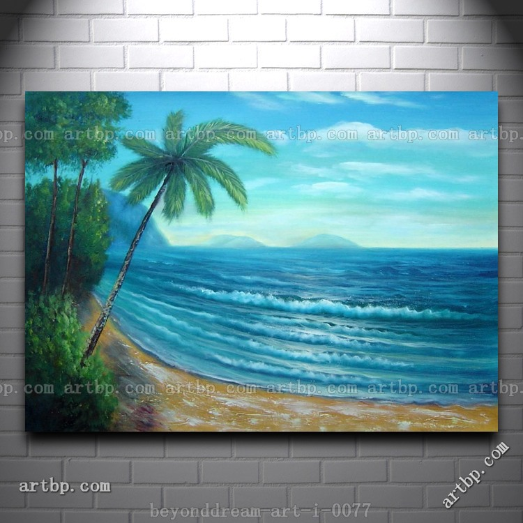 Palm tree and blue ocean oil painting naturalism seascape for 18x27 window