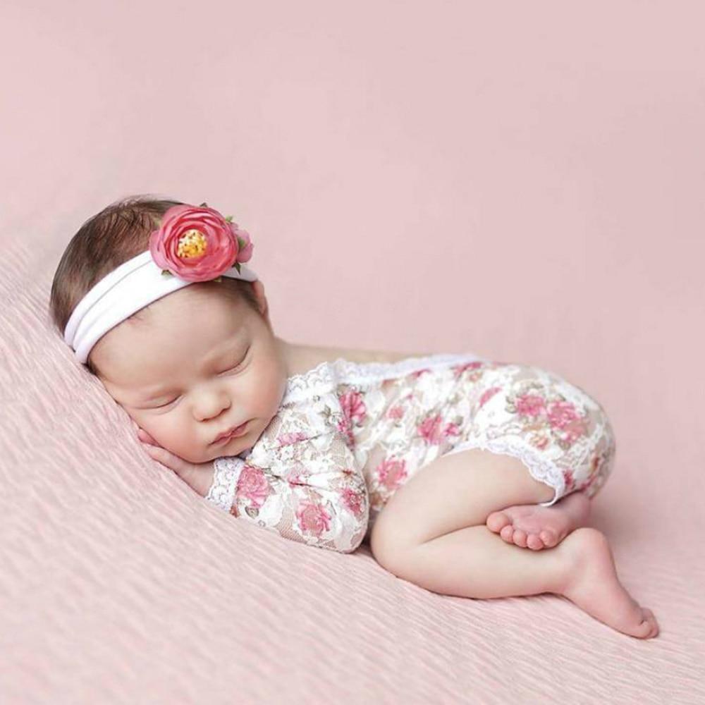 Реквизит для фотосъемки новорожденных, кружевной комбинезон для маленьких девочек с принтом роз, цельные детские аксессуары для фотосесси...