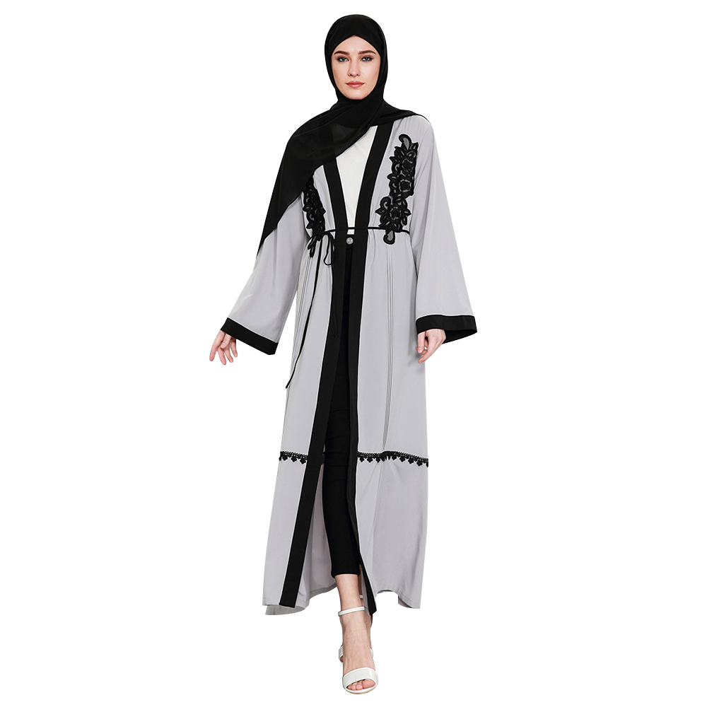 Women Gray Cardigan Muslim Abaya Lace Appliques Turkish Robes Islamic  Clothing Dubai Kaftan Arab Kimono Ramadan Jilbab Plus Size 329a7f71e14