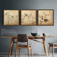 Retro Bird Branch Digital Synthesis Decorative Wall Art Artist Canvas Art Shipping