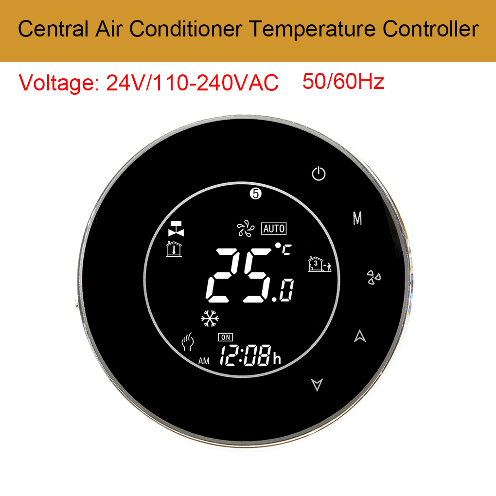 AC110-240V LCD Backlight Central Air Conditioner Thermostat 2 Pipe Temperature Controller for Modbus Communication