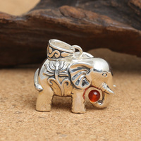 Sterling Silver Winter Sweater Chain Restoring Ancient Ways Thai Silver Lotus Elephant Beads Pendant Female