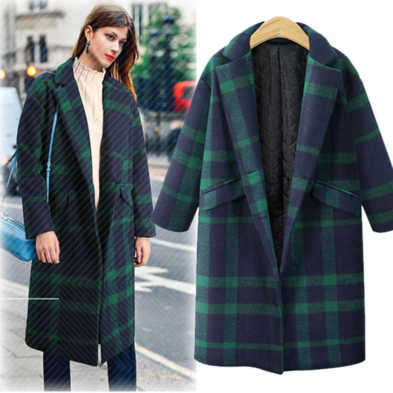 Womens Winter Plaid Lapel woolen coat Trench Jacket Long Parka Overcoat Lady lattice medium thick straight barrel cashmere coat