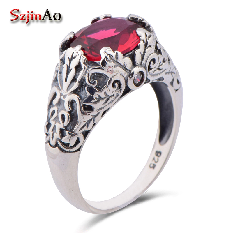 Szjinao 925 sterling silver jewelry exquisite decorative pattern type restoring ancient red ruby ring wholesale restoring grace page 1