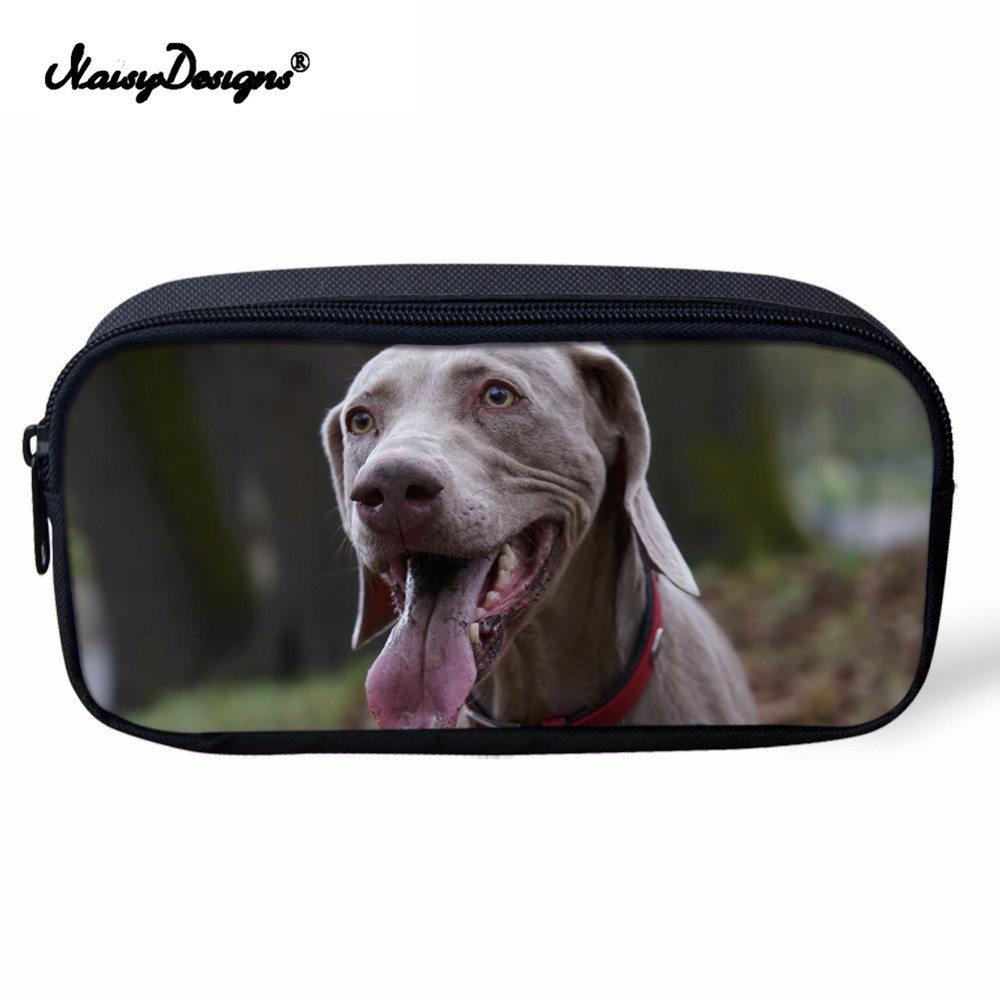 Us 7 2 40 Off Noisydesigns Funny Animal Weimaraner Dog Print Cosmetic Cases Casual Students Pencil Case Children Boys S Bag In