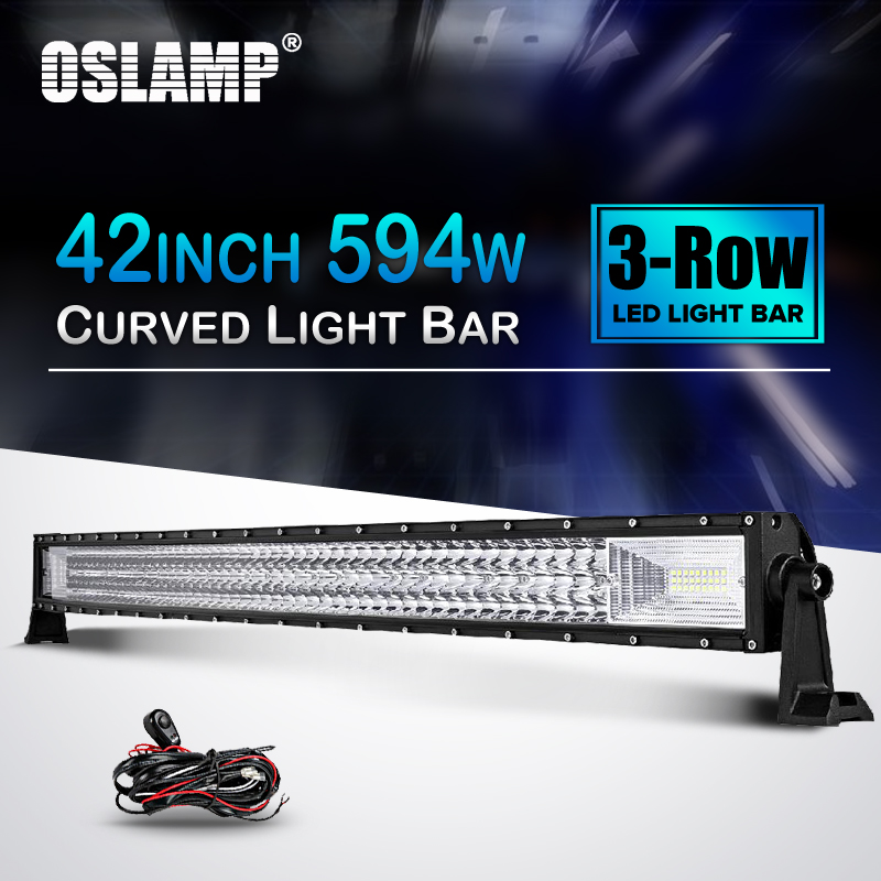 Oslamp 42 594W Curved LED Offroad Light Bar Tri-Row Led Work Light Combo Beam DC12v 24v Truck SUV 4WD 4x4 Offroad Led Bar Light auxmart led bar curved 702w 594w 486w 324w led light bar 22 34 42 50 inch led lightbar work light combo led auto lamp