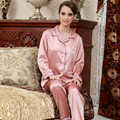 Pink Couple Pajamas Emulation Silk Satin Women Pyjama sets Long Sleeve Men Pijamas High Quality Turn-Down Collar Sleepwear Sale
