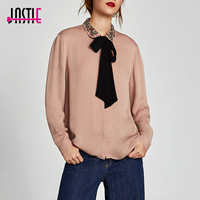 Jastie 2018 Spring Autumn Shirt With Embroidered Collar And Bow Women Blouse Long Sleeve Casual Boho