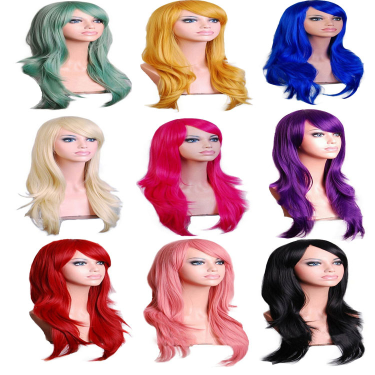 Women Cosplay Wigs Red 70CM Curly Wave Hair Long Synthetic Wig For Halloween Party Perruque Peluca Peruca Femininas