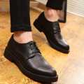 Simple Design Men Black Dress Shoes Round Toe Lace Up Business Leisure Leather Shoes Man Height Increasing Shoes Thick Bottom