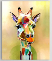 Handpainted Animal Deer Oil Painting on Canvas Pallete Giraffe Acrylic Paintings For Living Room Modern Home Wall Art Pictures