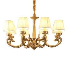 Американский Медь люстра 3 6 8 рука полностью бронза Спальня обеденный Гостиная Роскошные suspendsion светильники E14 3 Вт лампа