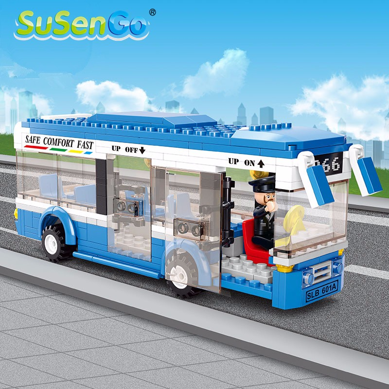 SuSenGo City Bus Assembled Monolayer Building Blocks DIY Toys Educational Gift For Children M38-B0330NN-2 dayan gem vi cube speed puzzle magic cubes educational game toys gift for children kids grownups
