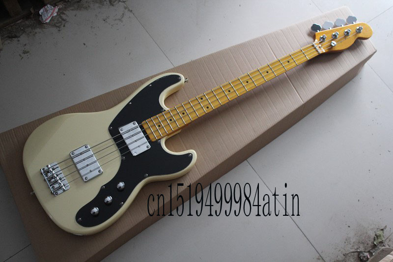 Free shipping Hot Selling Guitar Maple Fingerboard F Tele telecaster Bass Beige 4 Strings Electric Guitar @32 new electric guitar strings chrome tele neck pickup telecaster