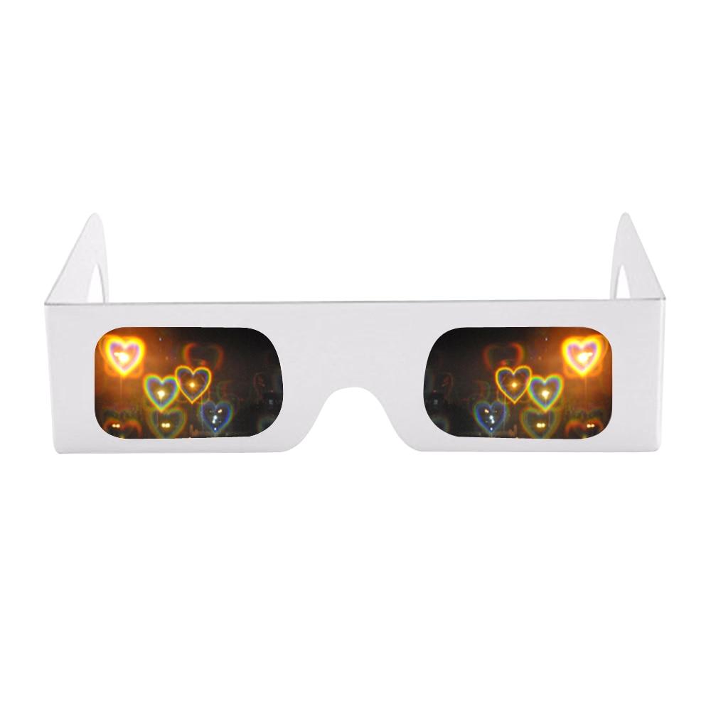 Heart Luminescence Diffraction Glasses Clear Lens white frame 3D Glasses For Raves,Music Festivals,Light Shows,Concerts&Firework