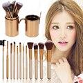12 pcs Pro Makeup Sets Escova Titular Maquiagem Cosméticos Fundação Blending Pincel com Pen Holder Ferramenta de Cosméticos