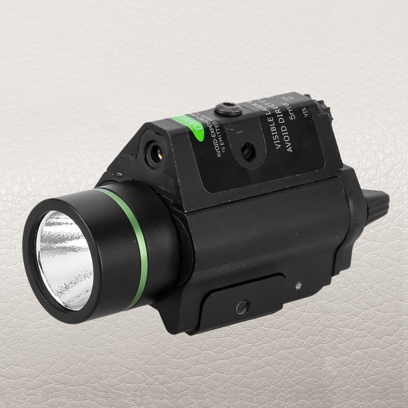 FIRE WOLF Tactical Combo Metal Green Dot Laser Sight LED Flashlight 200LM 3W with 20mm rail Weaver Picatinny For Glock 17