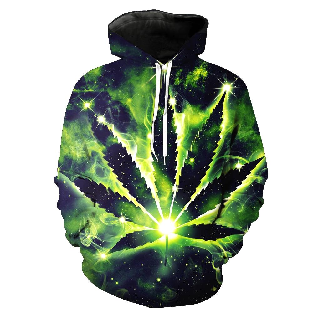 PLstar Cosmos 2018 New Weeds  Sweatshirt Men / Women 3d Hoodies Print Green Leaves Color Pattern Slim Unisex Slim Stylish Hooded