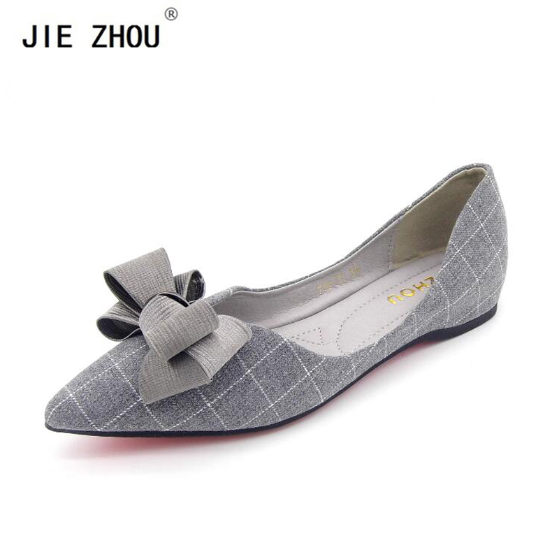 Hot sale! 2018 New Fashion Spring Women Flats Plaid Shoes Ladies Bow Pointed Toe