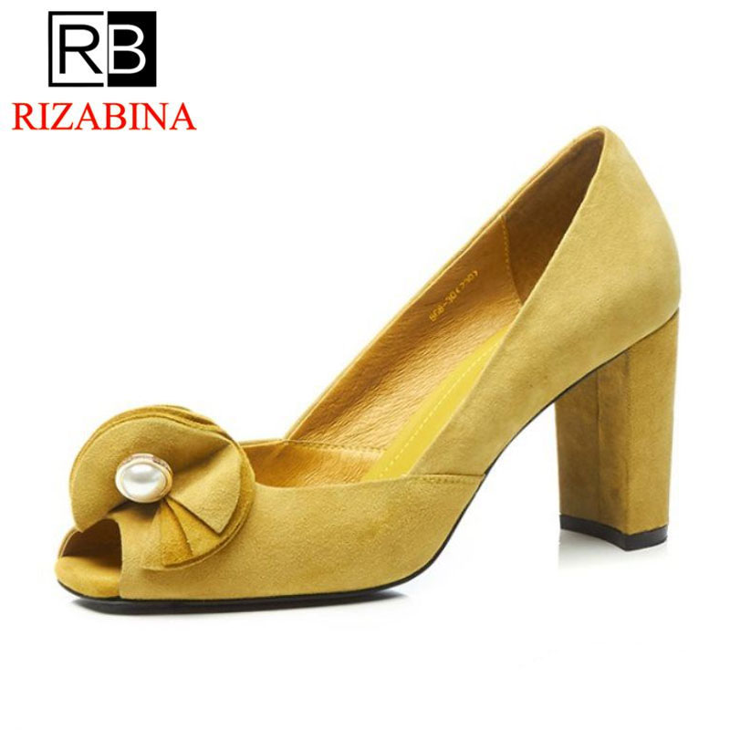 RizaBina Sexy Women Real Genuine Leather High Heel Shoes Woman Bowtie Peep Toe Thick Heel Pumps Party Club Shoes Size 34-39 women real genuine leather pointed toe square high heel shoes woman sexy fashion leisure ladies heeled shoes size 34 39 r7159