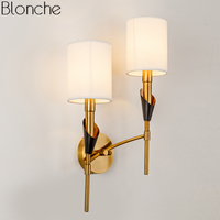Nordic Gold Wall Lamp Fabric Lampshade Loft Luminaire E14 Led Wall Light Sconce for Bedroom Stair Indoor Decor Lighting Fixtures