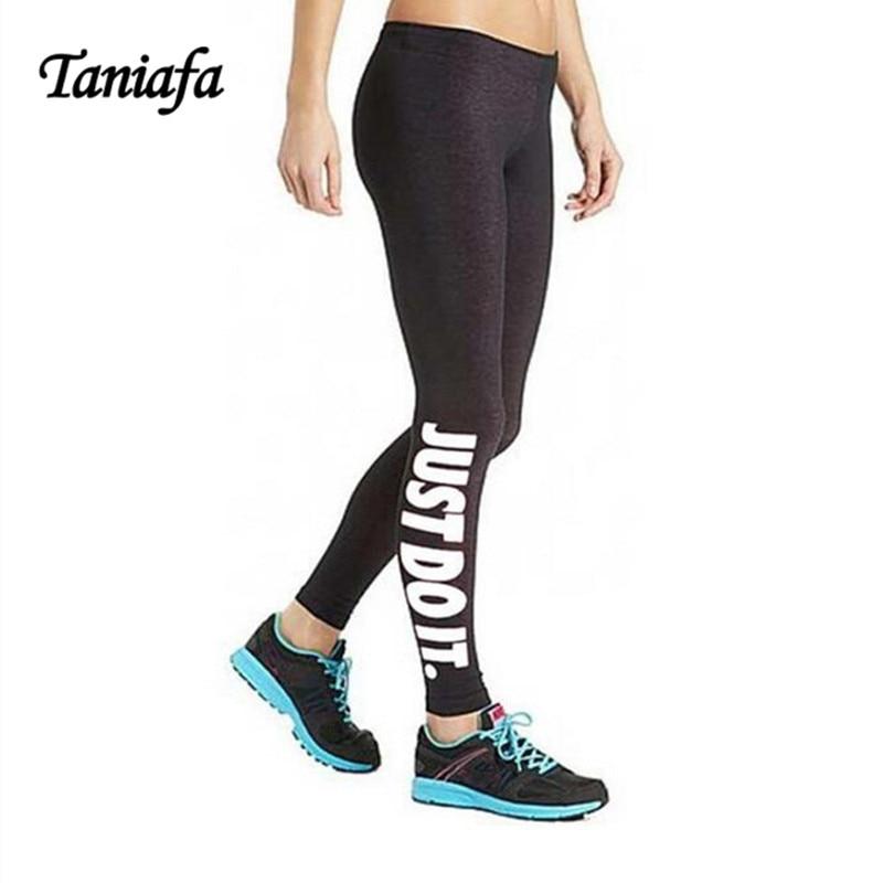 TANIA Spring Harajuku Leggings Women Fitness Pants Fitness legins Printed Boy Just do it Letters Gun