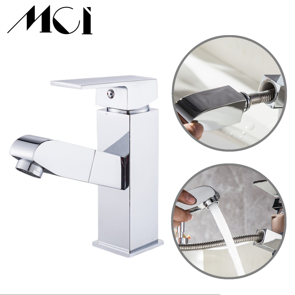 Pull Out Bathroom Faucet Deck Mount Mixer Tap with Hot and Cold Water Single Handle Crane Taps Torneira Banheiro MciPull Out Bathroom Faucet Deck Mount Mixer Tap with Hot and Cold Water Single Handle Crane Taps Torneira Banheiro Mci