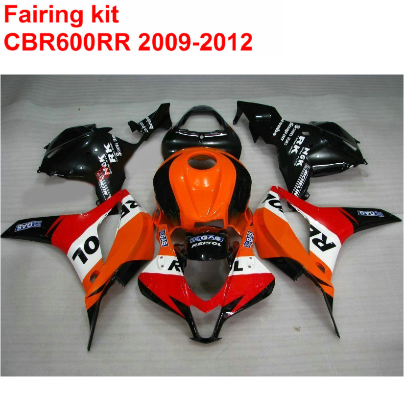Injection molding ABS full Fairing kit for HONDA cbr600rr 2009 2010 2011 2012 CBR 600 RR orange black REPSOL fairings 09-12 LK6 injection molding fairing kit for kawasaki zx14r 06 07 08 09 2006 2009 wine red black 100% abs zx14r fairings op01