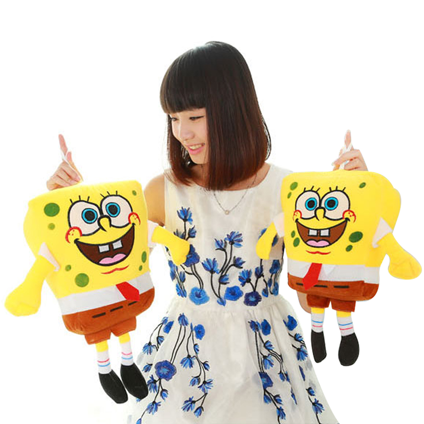 Hot! 1pcs 40cm Sponge Bob Baby Toy Spongebob Plush Toy Soft Anime Cosplay Doll For Kids Toys Cartoon Figure Cushion