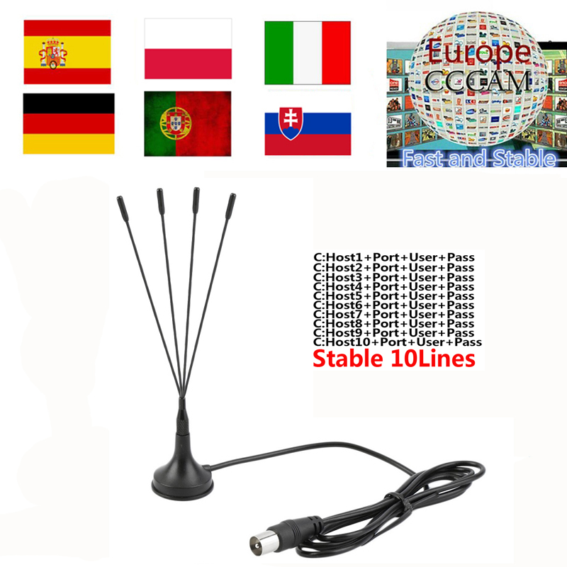 2019 Stable Europe HD Cccams 10/6line For SPAIN Portugal Germany Satellite Ccams Receiver Guarantee 1.5 Year