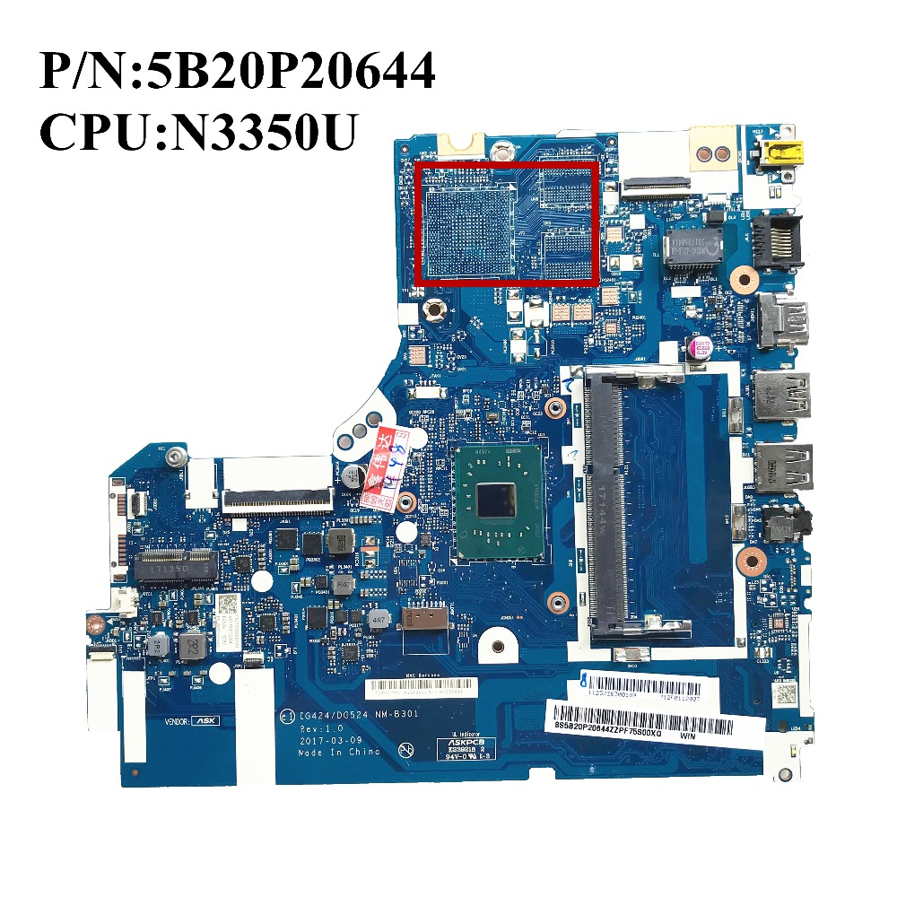 Excellent For Lenovo 320 15IAP Laptop Motherboard DDR3L 5B20P20644 W N3350U DG424 DG524 NM B301 100
