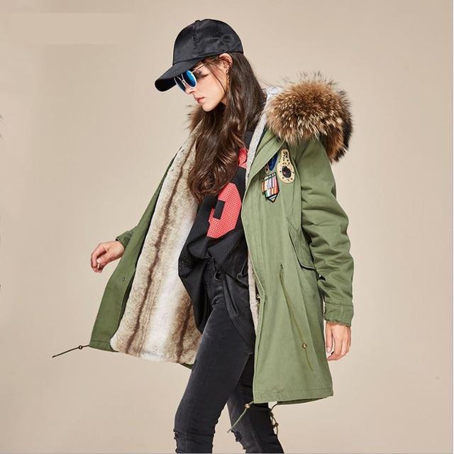 € 333.4  Jott 2017 mode hiver femmes grand réel fourrure de raton laveur col Parka à capuche broderie manteau Outwear grande taille militaire longue