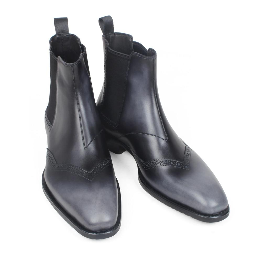 Richelieu Black Cuir Chaussures Casual Véritable Hommes Cheville qqaFXH