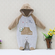 2017 Spring autumn soft velvet baby clothing buckle front opening child clothes hoodie children apparel cute winter kids romper