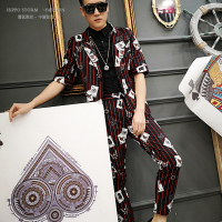 M 6XL!!Personality Poker Print Red Thin Stripe Suit Sleeve Suit Spring and Summer Set Nightclub Singer Hair Stylist.