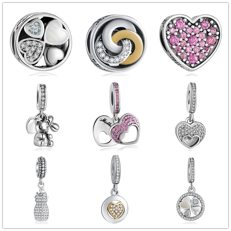 YANXIZAO 925 Silver Heart series Heart Shape Love Fit Pandora Bracelet Charms Beads DIY Bracelet Jewelry Mother's Day Gift