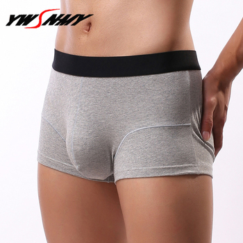 Men's Business solid Boxer Shorts Sexy Big U Convex Pouch Boxers Breathable health cotton Underpants Homme Sculpting Slip Pantie