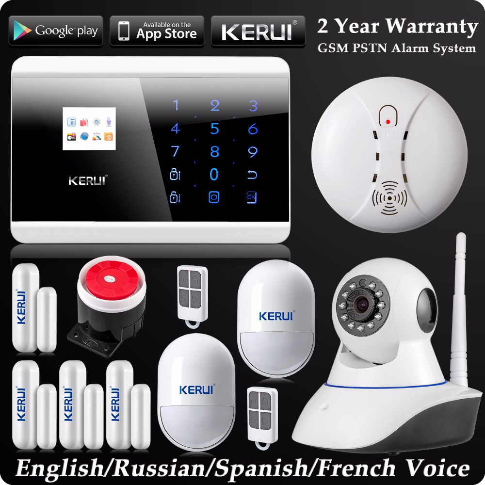 Kerui LCD Wireless Wired GSM SMS Autodial Home Alarm System Wifi IP Camera Pet Immune Motion Sensor Wireless Smoke DetectorKerui LCD Wireless Wired GSM SMS Autodial Home Alarm System Wifi IP Camera Pet Immune Motion Sensor Wireless Smoke Detector