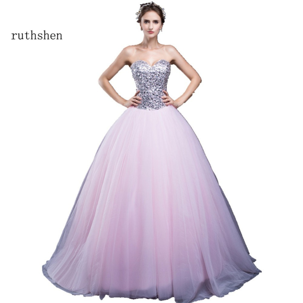 ruthshen Light Pink Ball Gown Quinceanera Dresses Cheap In Stock Debutante Gowns Sequins Ruched Tulle Vestidos De 15 Anos