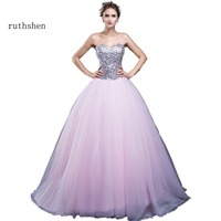 Real Photo Light Pink Ball Gown Quinceanera Dresses Cheap In Stock Debutante Gowns Sequins Ruched Tulle