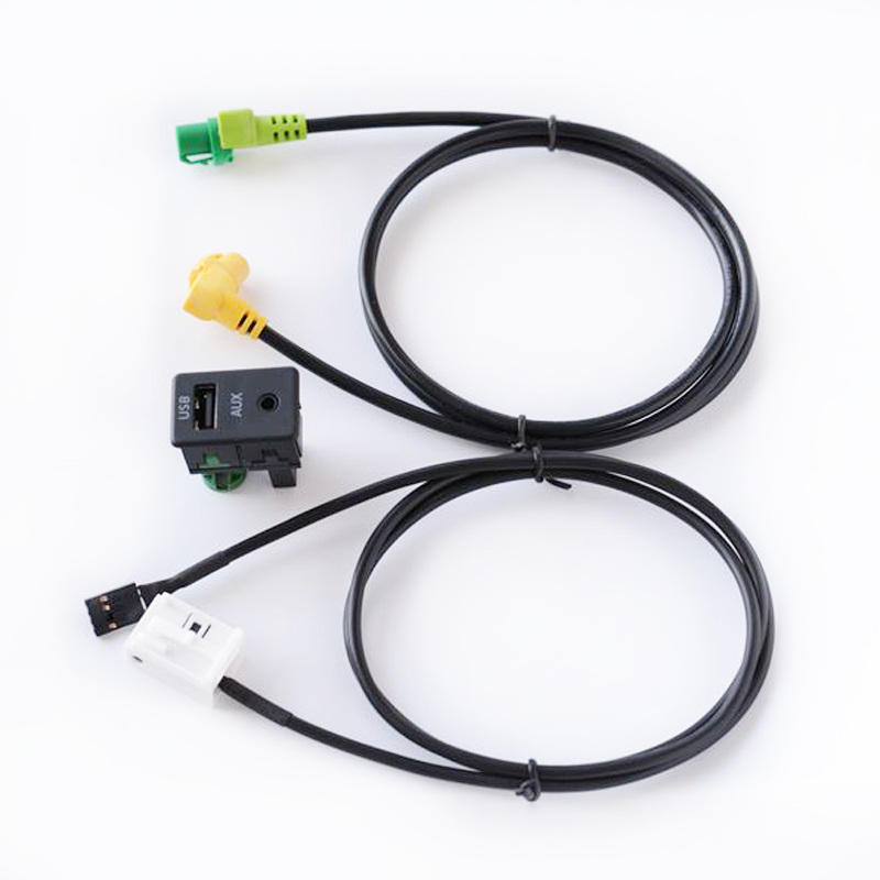 Biurlink Car AUX <font><b>USB</b></font> Audio Cable Switch Plug Button for Volkswagen <font><b>Passat</b></font> <font><b>B6</b></font> B7 CC Touran POLO Install RCD510 RCD510 Plus RNS315 image