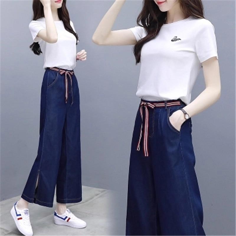 2018 New women s summer wear two overalls short sleeved tops denim high waisted wide legged