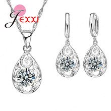 Factory Price 925 Sterling Silver Waterdrop Cubic Zircon Pendants Necklaces Set Women Crystal Bridal Wedding Jewelry Sets(China)