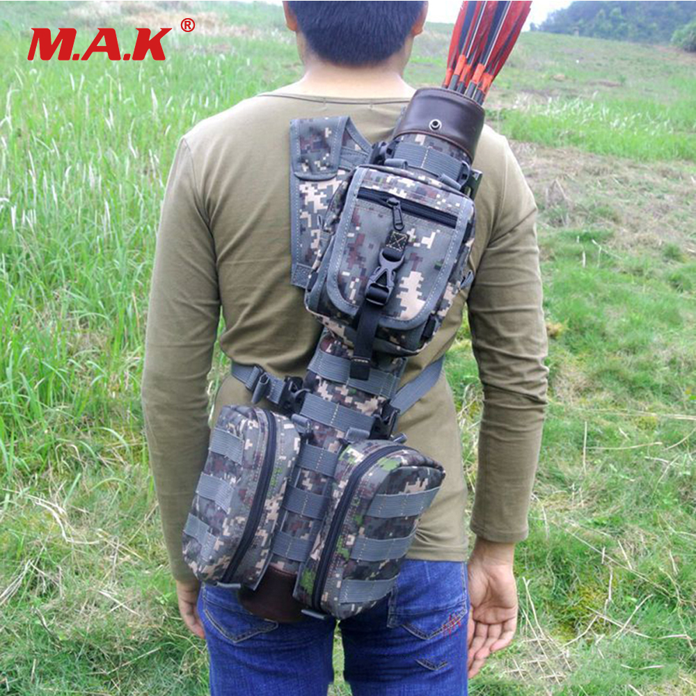 Tactical Whole True Leather Arrow Quiver with Molle System Bag for Bow Hunting 3 Colors outdoor camouflage archery hunting arrow quiver water resistant archery quiver holder caza arrows bow quiver bag with zipper