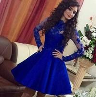 Vestido De Festa 2015 Long Sleeve Royal Blue Short Prom Dresses High Neck Vintage A Line