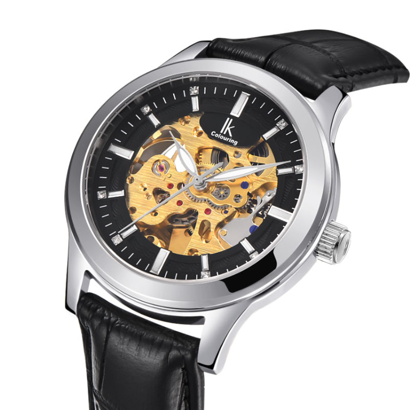 IK Colouring Luxury Gold Hollow Skeleton Automatic Watch Men Steel Genuine Leather Strap Mechanical Watches Waterproof Clock gucamel automatic mechanical watch hollow out design genuine leather band for men